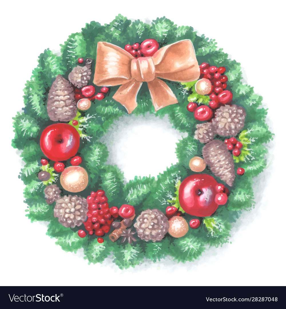 New year and christmas wreath traditional winter