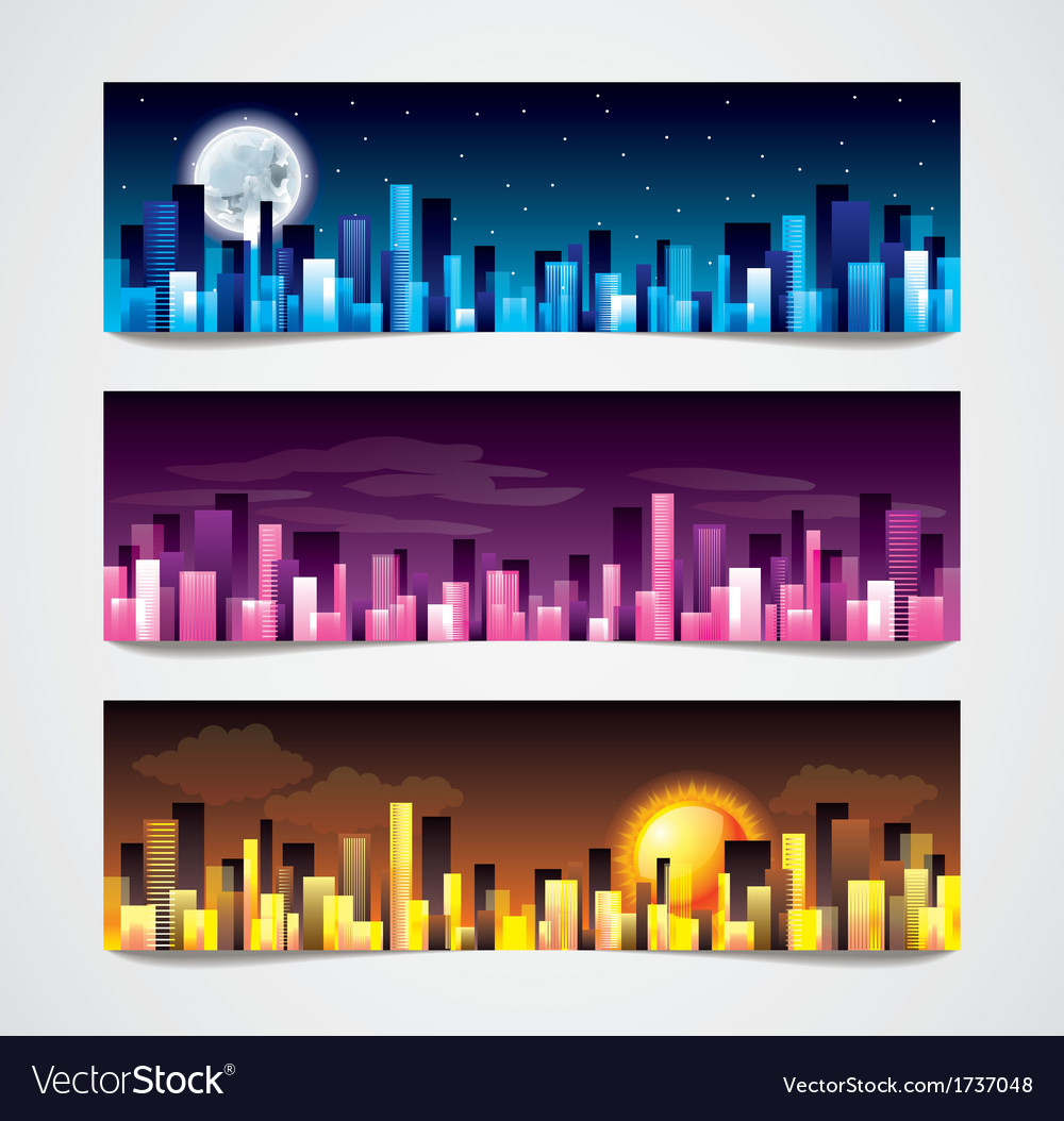 Night city banners