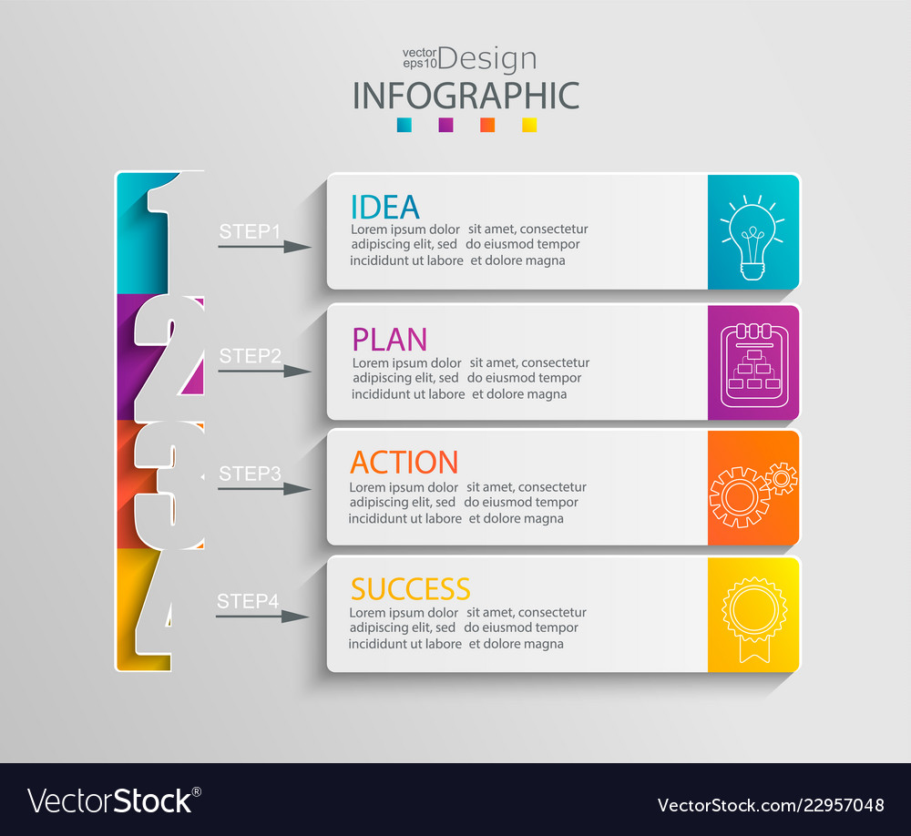 Paper infographic template with 4 options