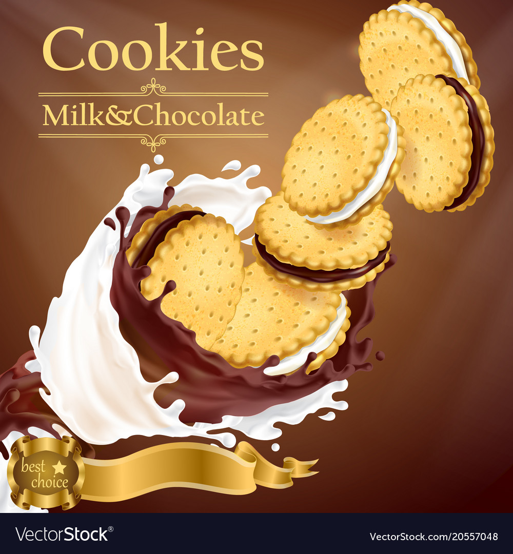 Promotion banner with cookies and splashes
