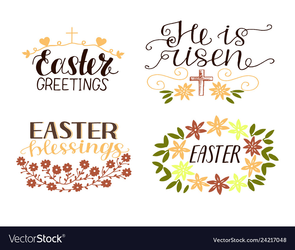 Set of 4 hand lettering quotes he is risen