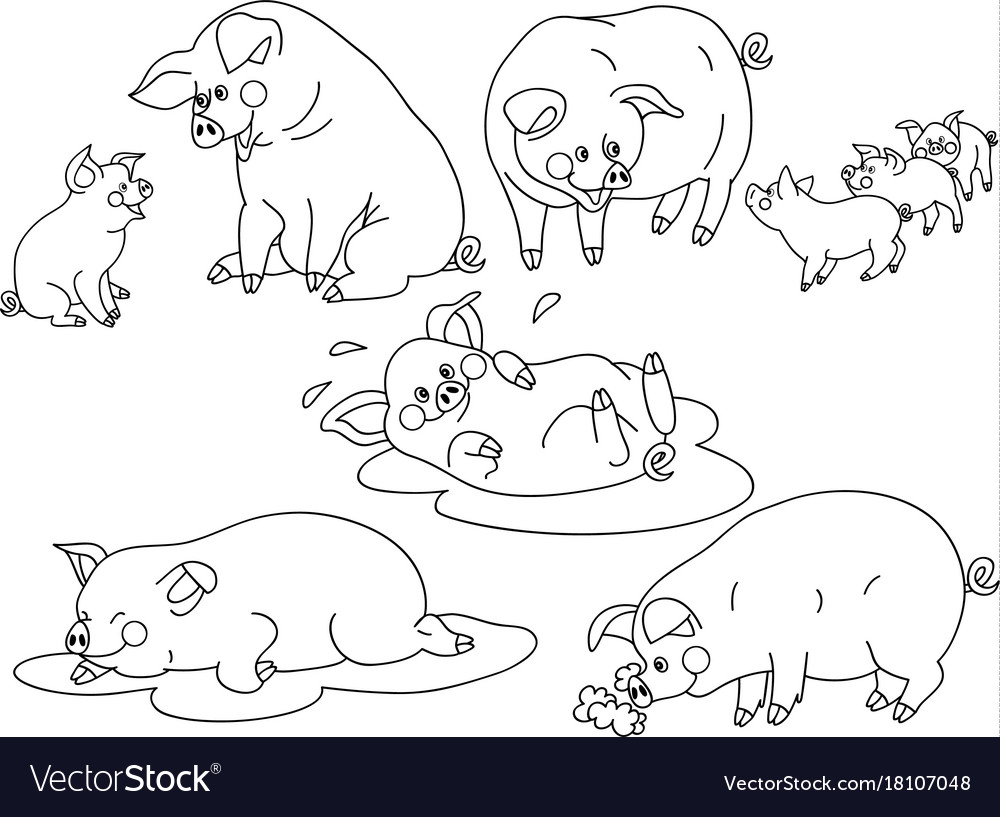 Set of cute cartoon pigs