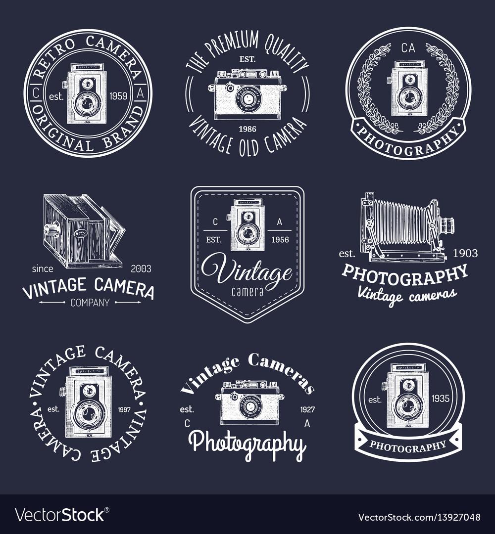 Set old cameras logos vintage photo