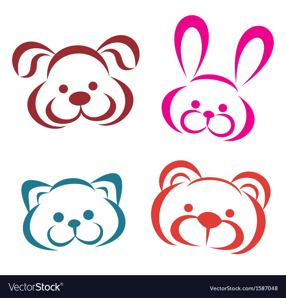 Teddy animals portraits icons Outlined toys
