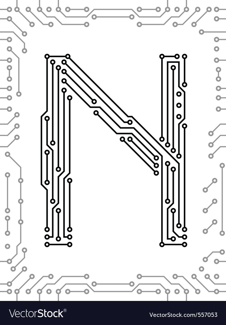 Alphabet Of Printed Circuit Boards Easy To Edit Capital Letter C Stock Editabstract Board Vector Image