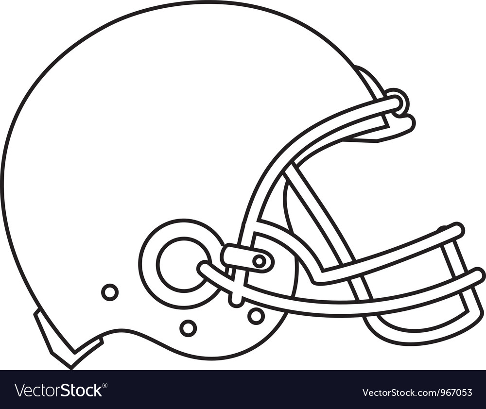 american football helmet line drawing royalty free vector