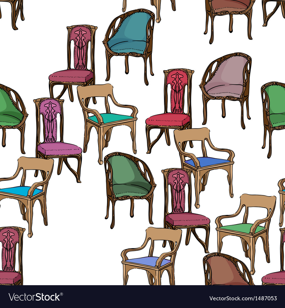 Art Nouveau Furniture Pattern Royalty Free Vector Image