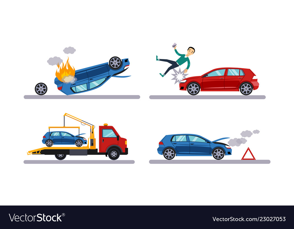 Auto accidents set car crash man hitting by a