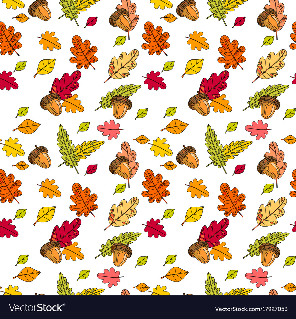 Autumn seamless pattern background colorful leaves