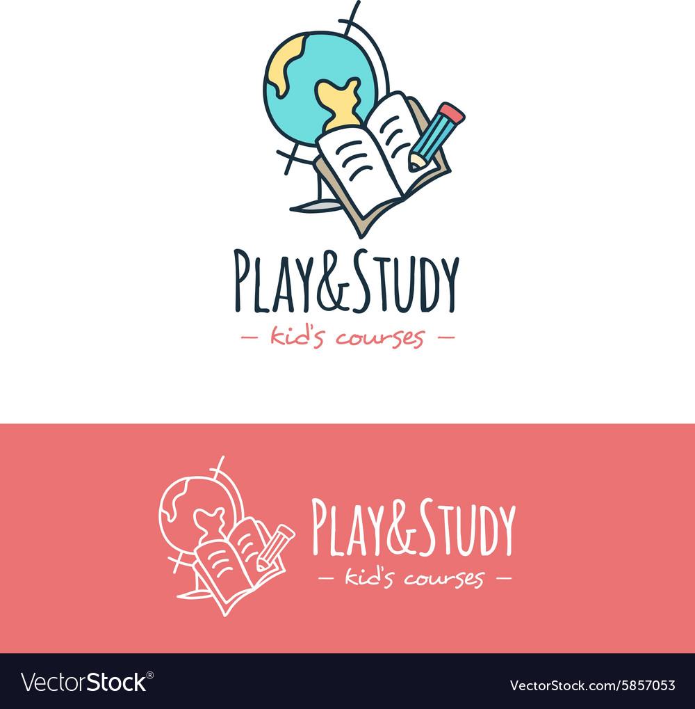 Cartoon style education logo Hand drawn vector image