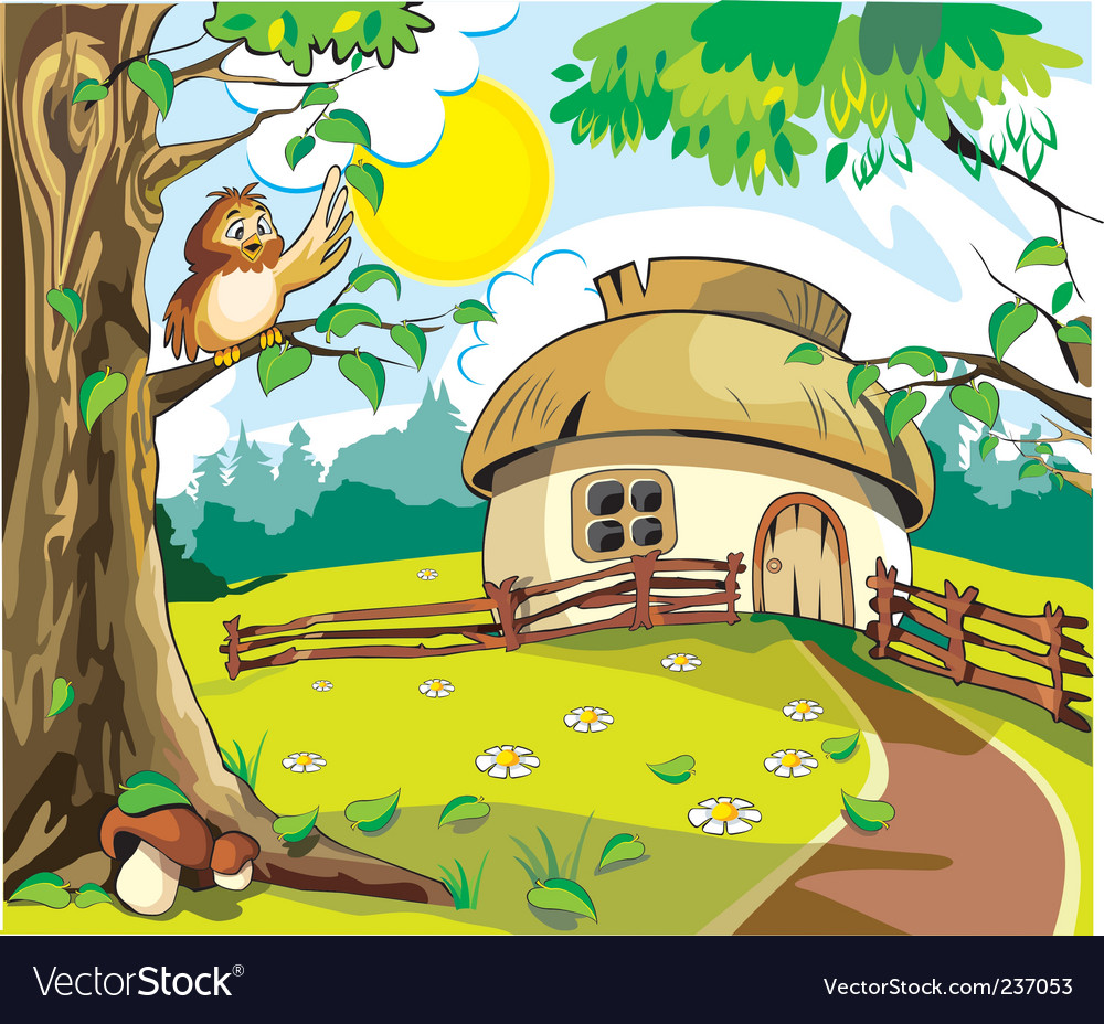 Country Cottage Royalty Free Vector Image Vectorstock