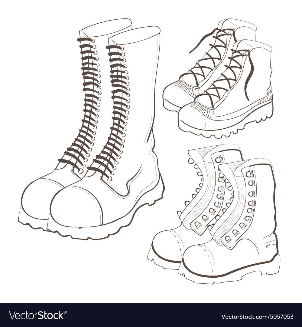 Hand drawn doodle boots icon set