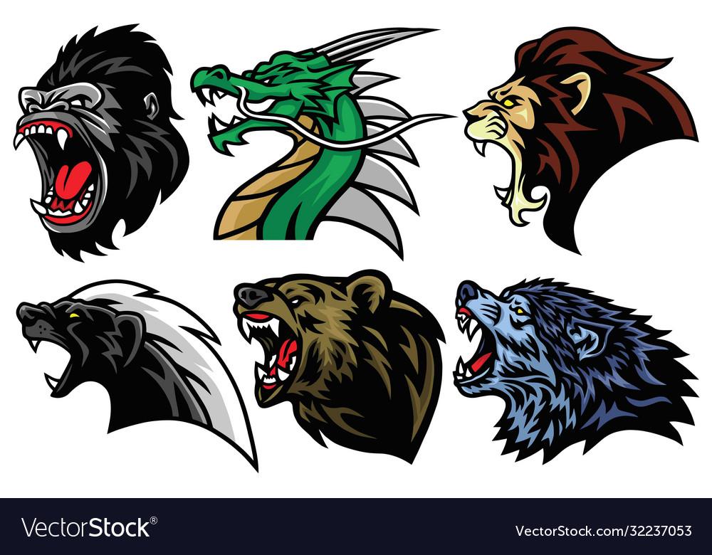 Honey badger lion bear gorilla dragon wolf logo