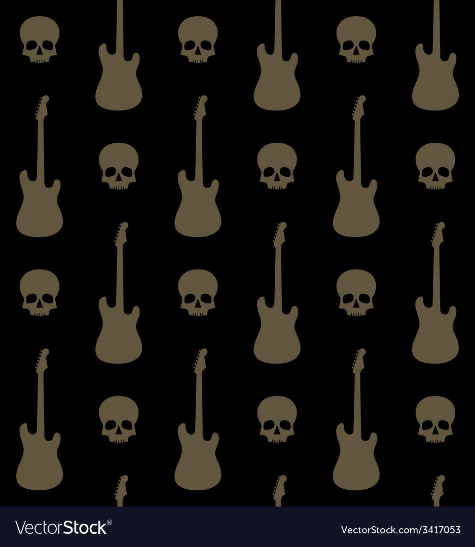 Seamless background with skulls and guitars