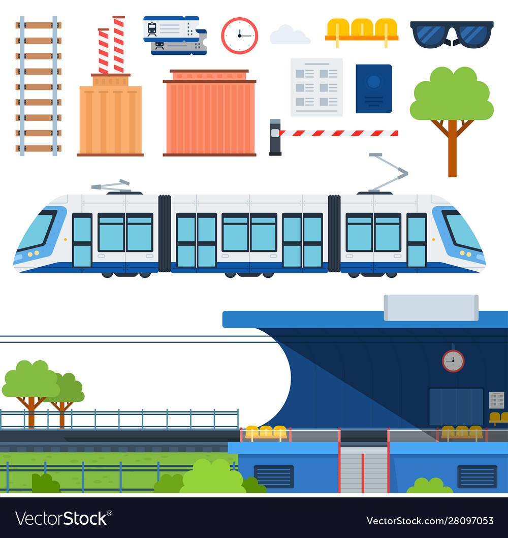 Set metro railway platform and tram flat