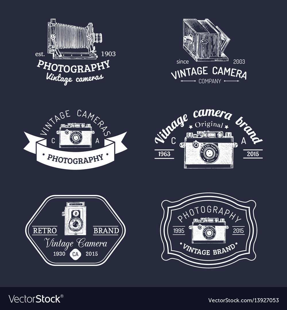 Set of old cameras logos vintage photo