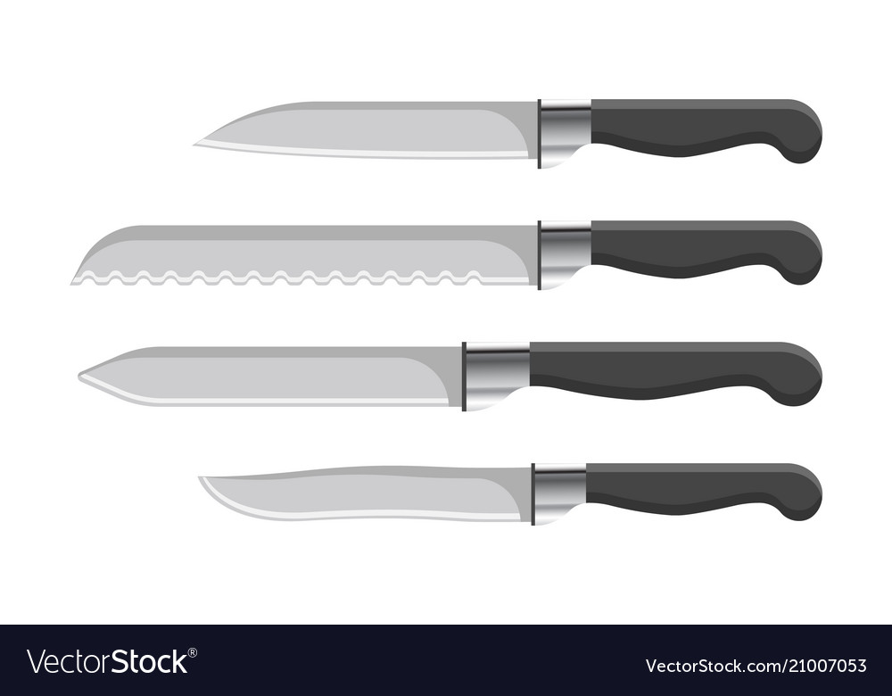 Sharp kitchen knives set with plastic handles Vector Image