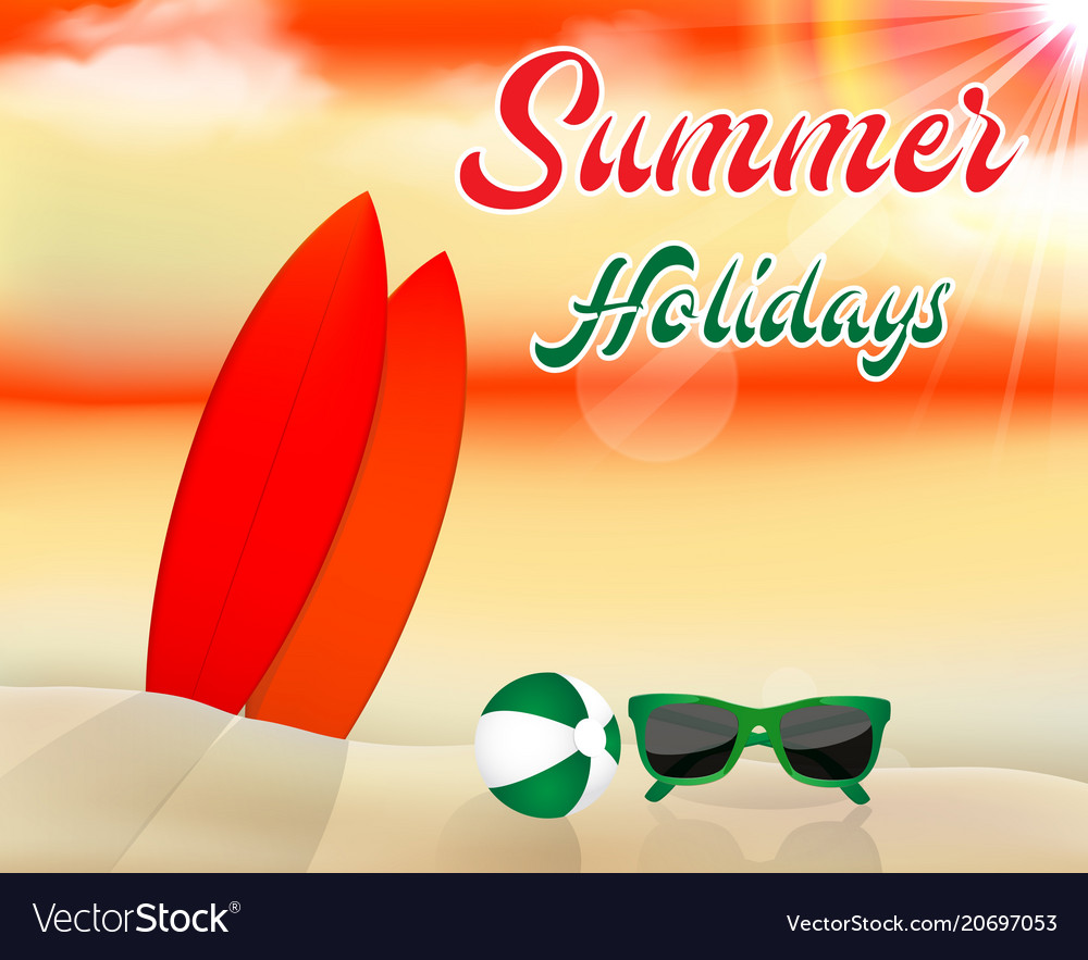 Summer beach background with surfboards