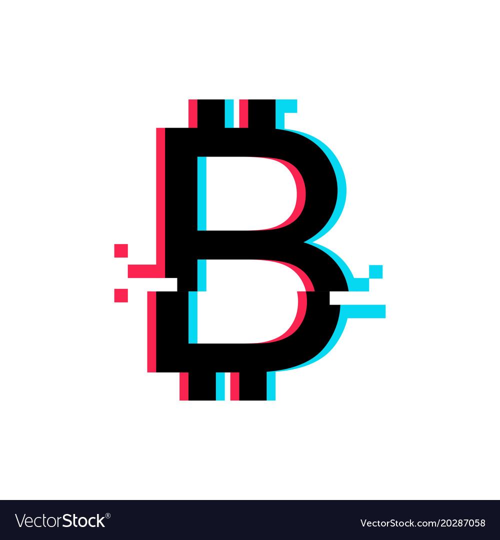 Bitcoin sign in glitch style