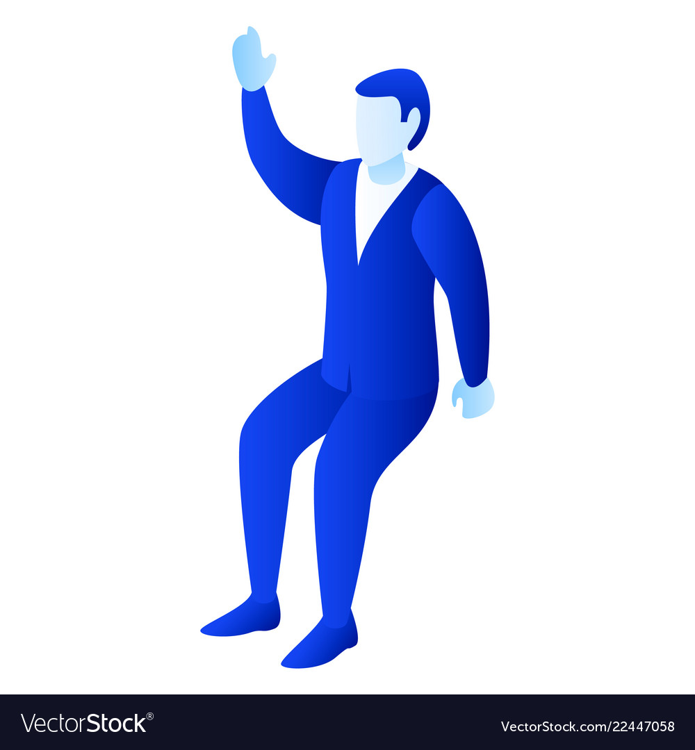 Businessman hand up icon isometric style