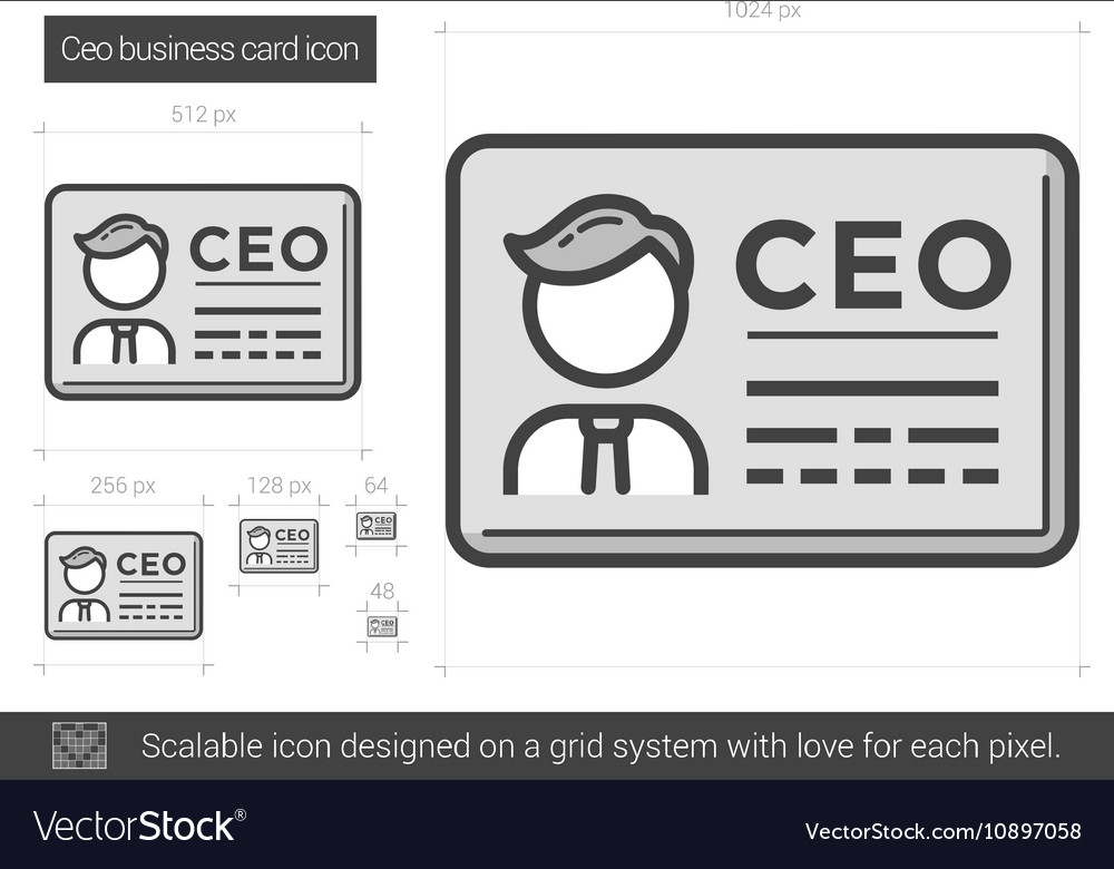 CEO business card line icon Royalty Free Vector Image