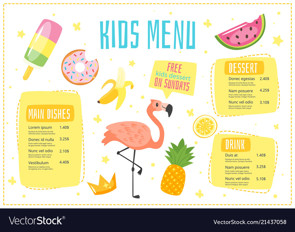 Children Menu Meal Template Royalty Free Vector Image