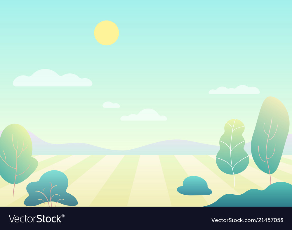 Fantasy simple cartoon summer field with tree