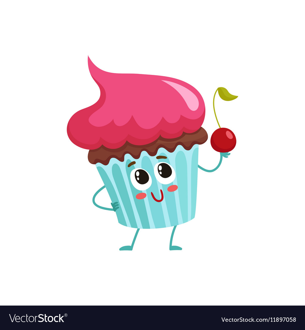 Funny cupcake character with pink cream topping vector image