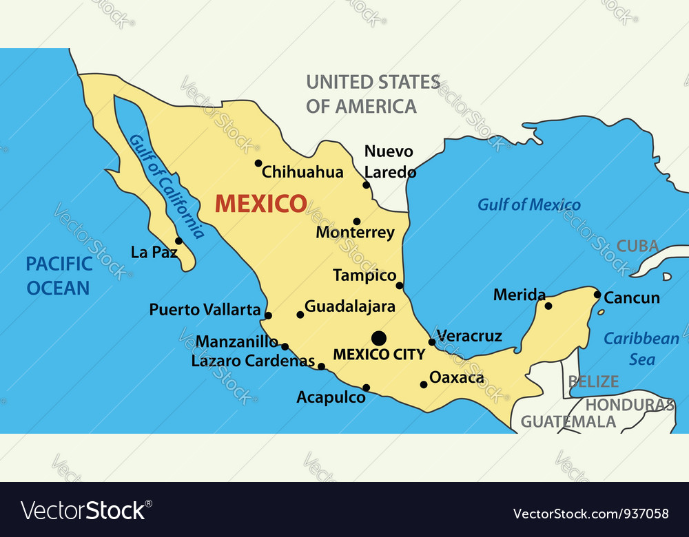 Map of United Mexican States Royalty Free Vector Image