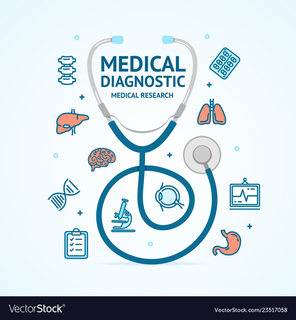 Medical diagnostics concept and thin line icons