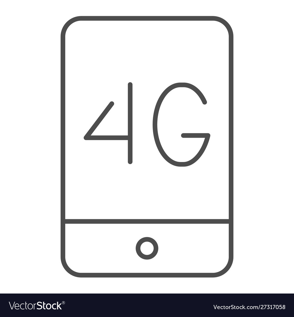 Mobile phone with 4g thin line icon 4g smartphone