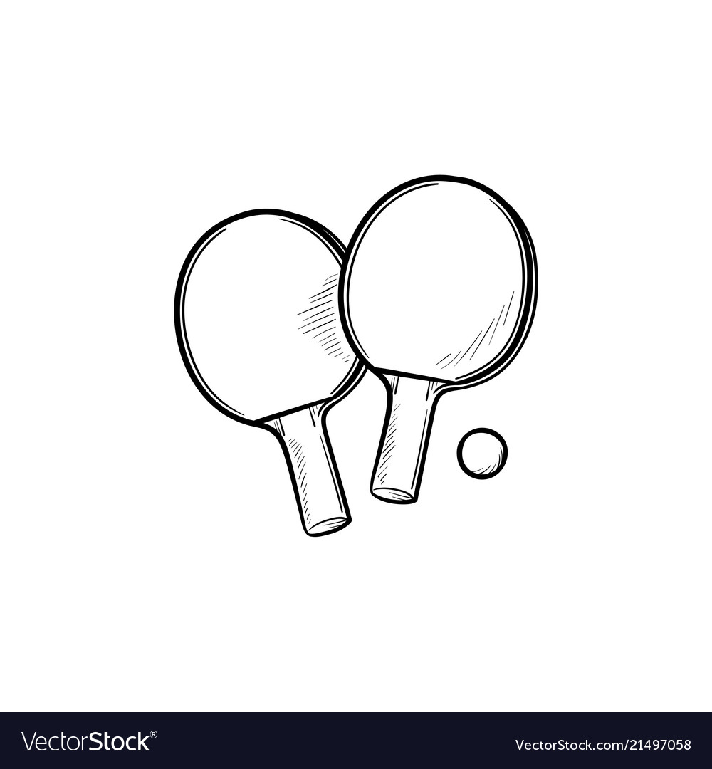 Ping-pong rackets and ball hand drawn outline
