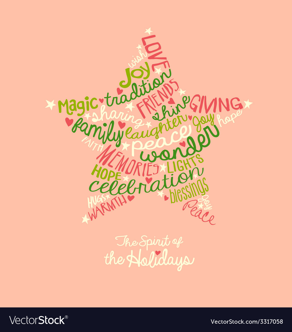Pink holiday star word cloud greeting card vector image