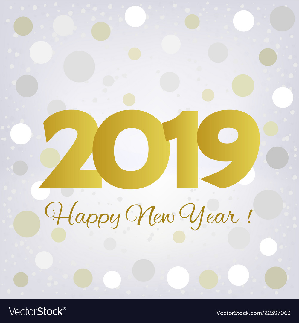 2019 golden happy new year greeting card