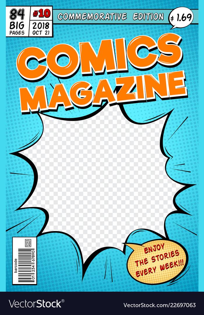 Comic book cover retro cartoon comics magazine