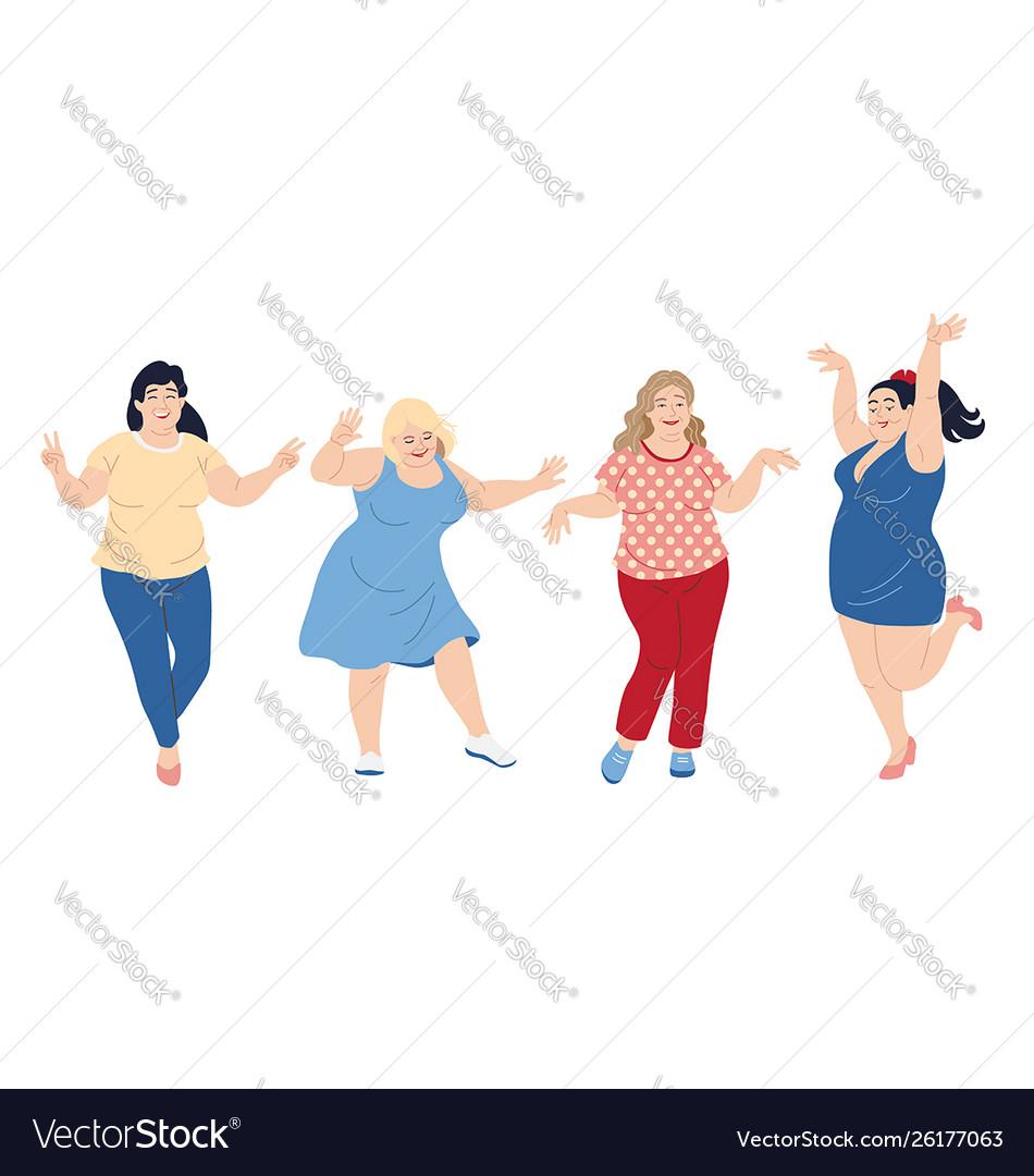 Dancing plus size happy women
