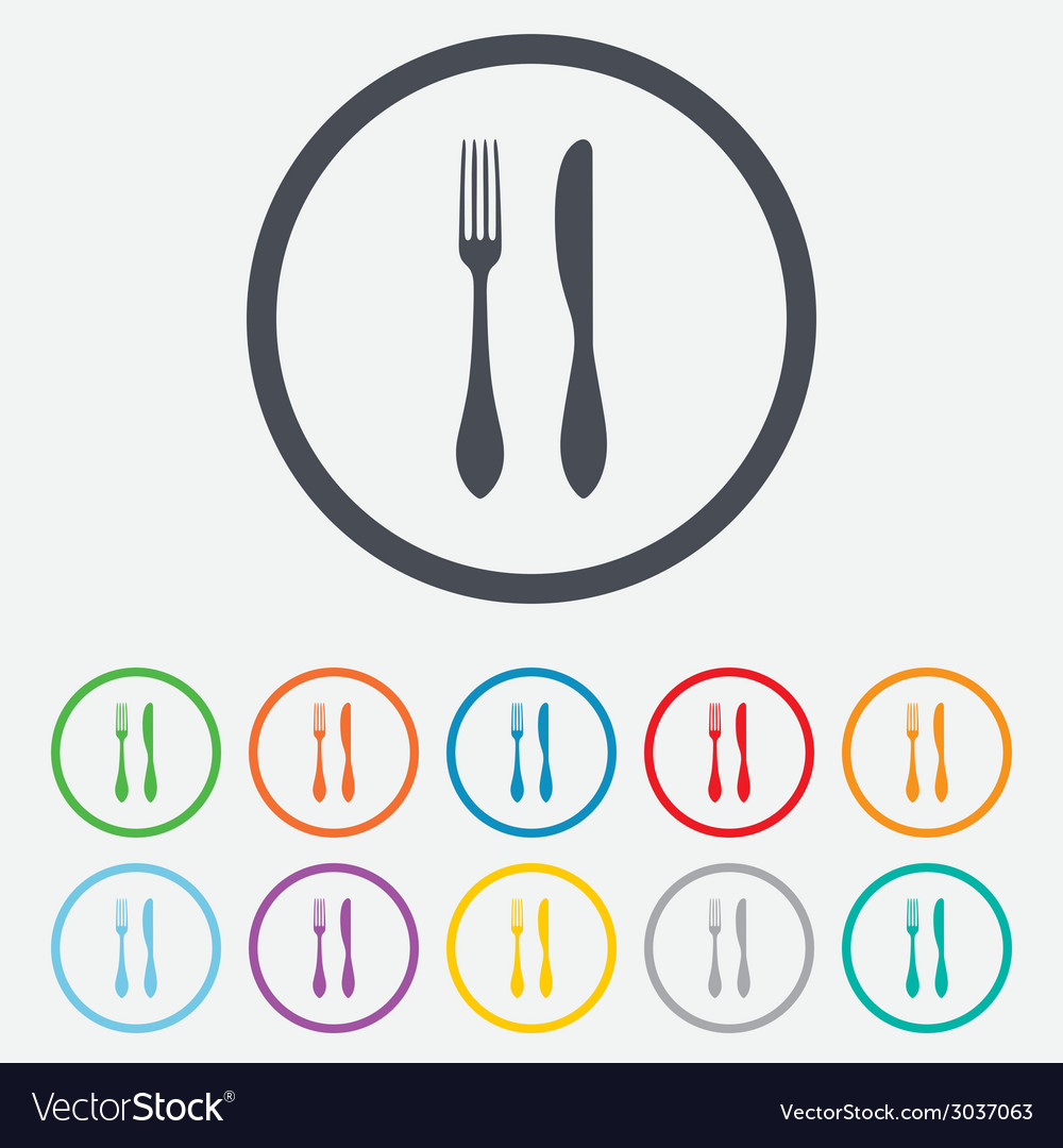 Eat Sign Icon Cutlery Symbol Knife And Fork Vector Image
