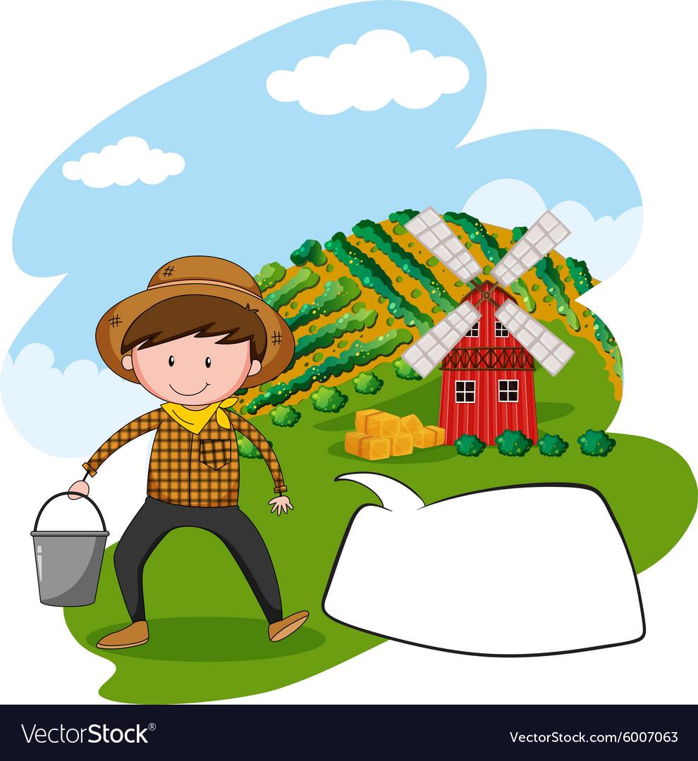 Farmer working in the farmland vector image