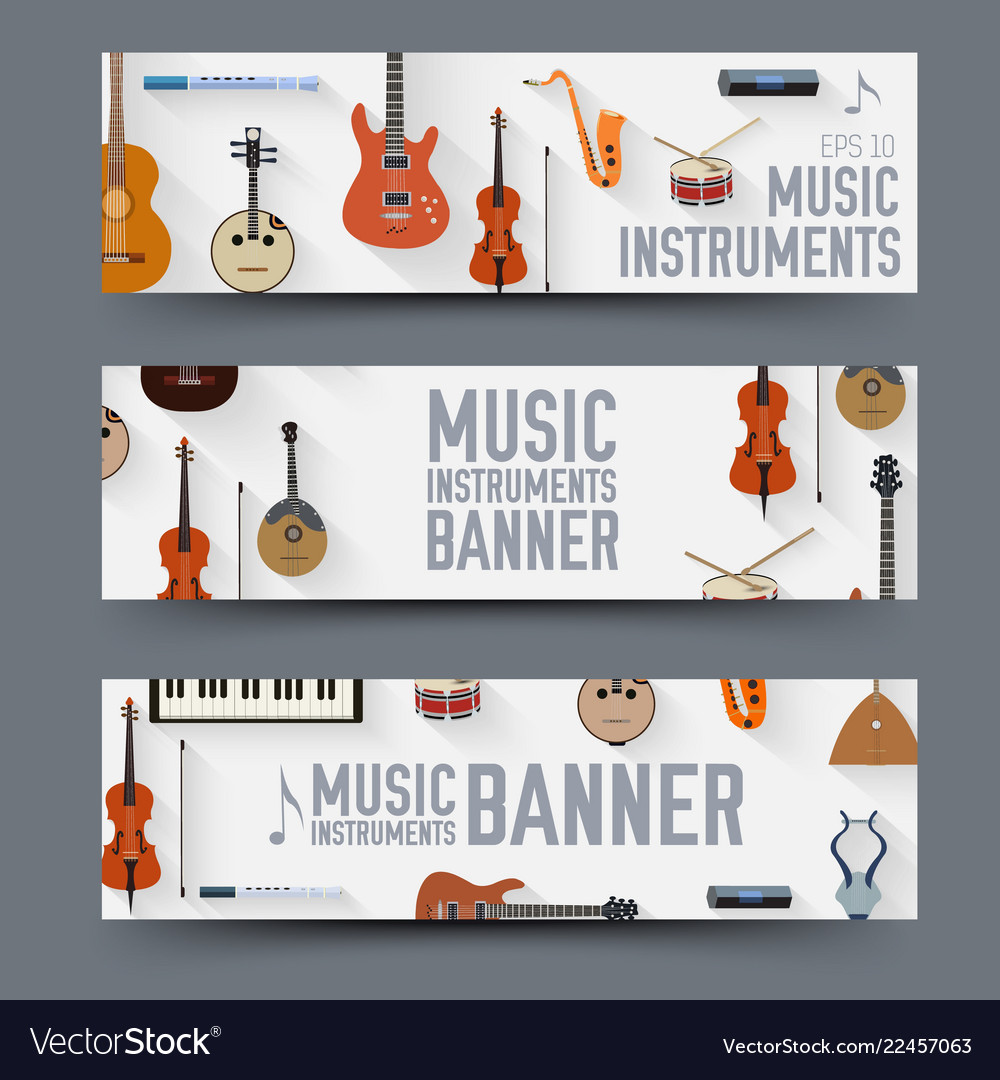 Flat music instruments banners concept