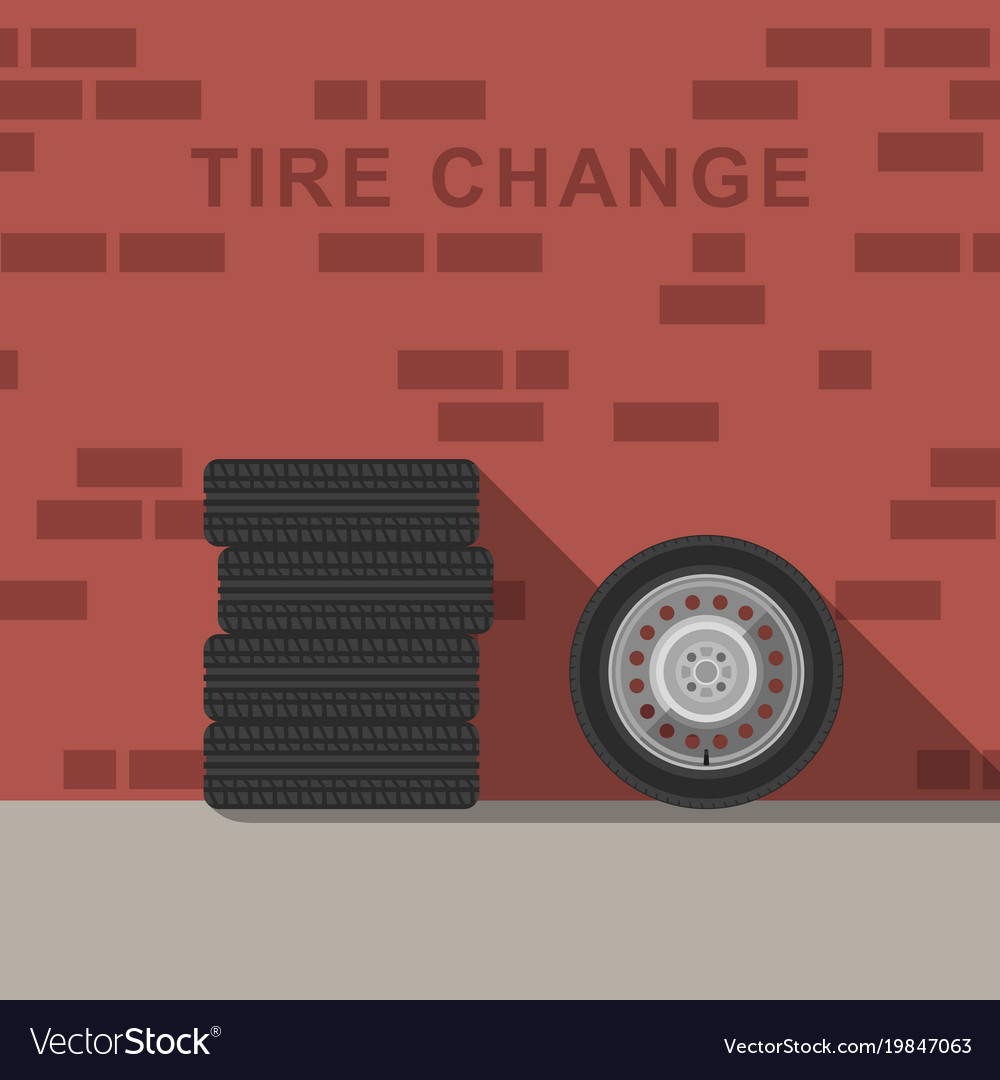 Garage interior with wheels and tire