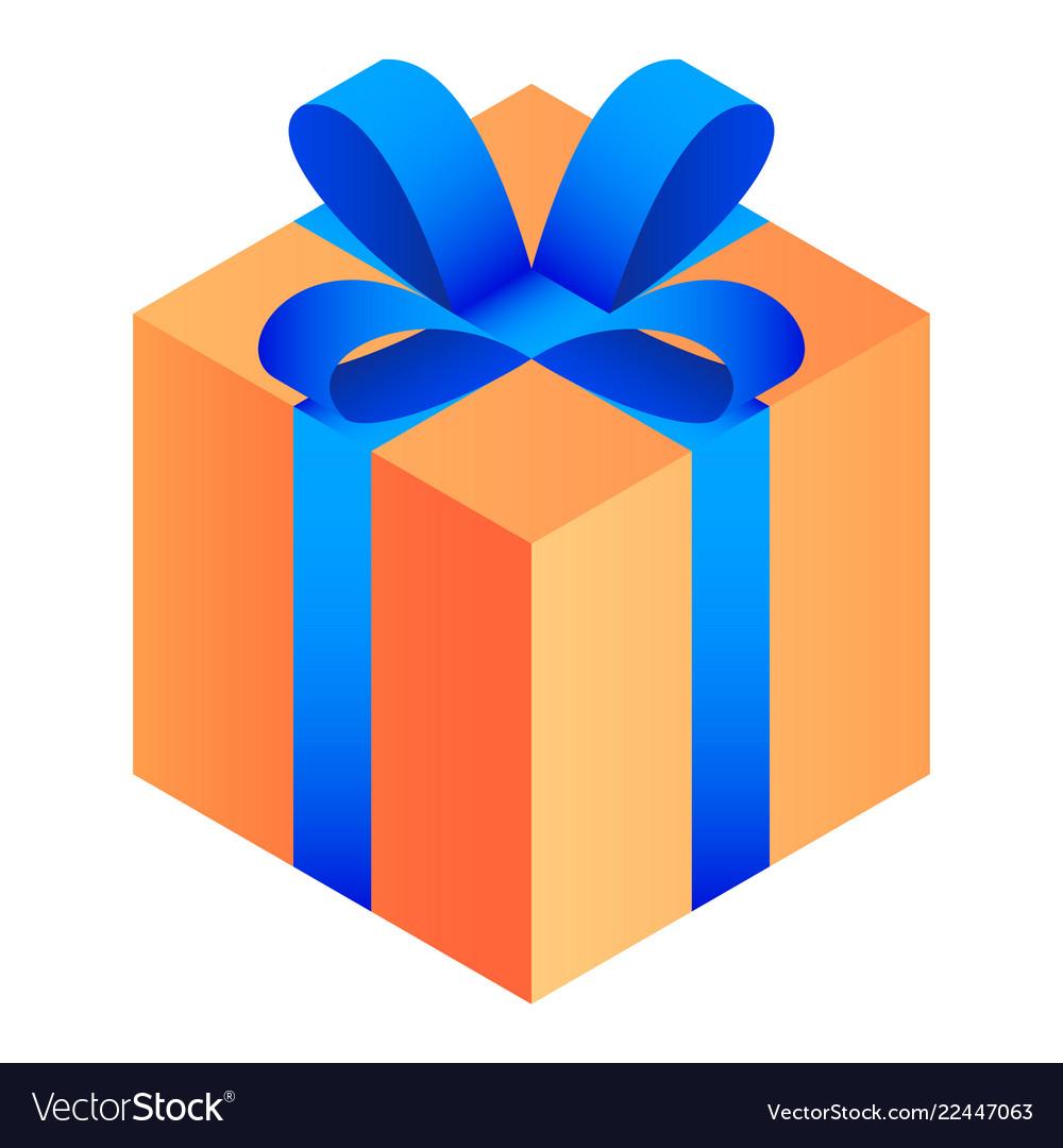 Gift orange box icon isometric style