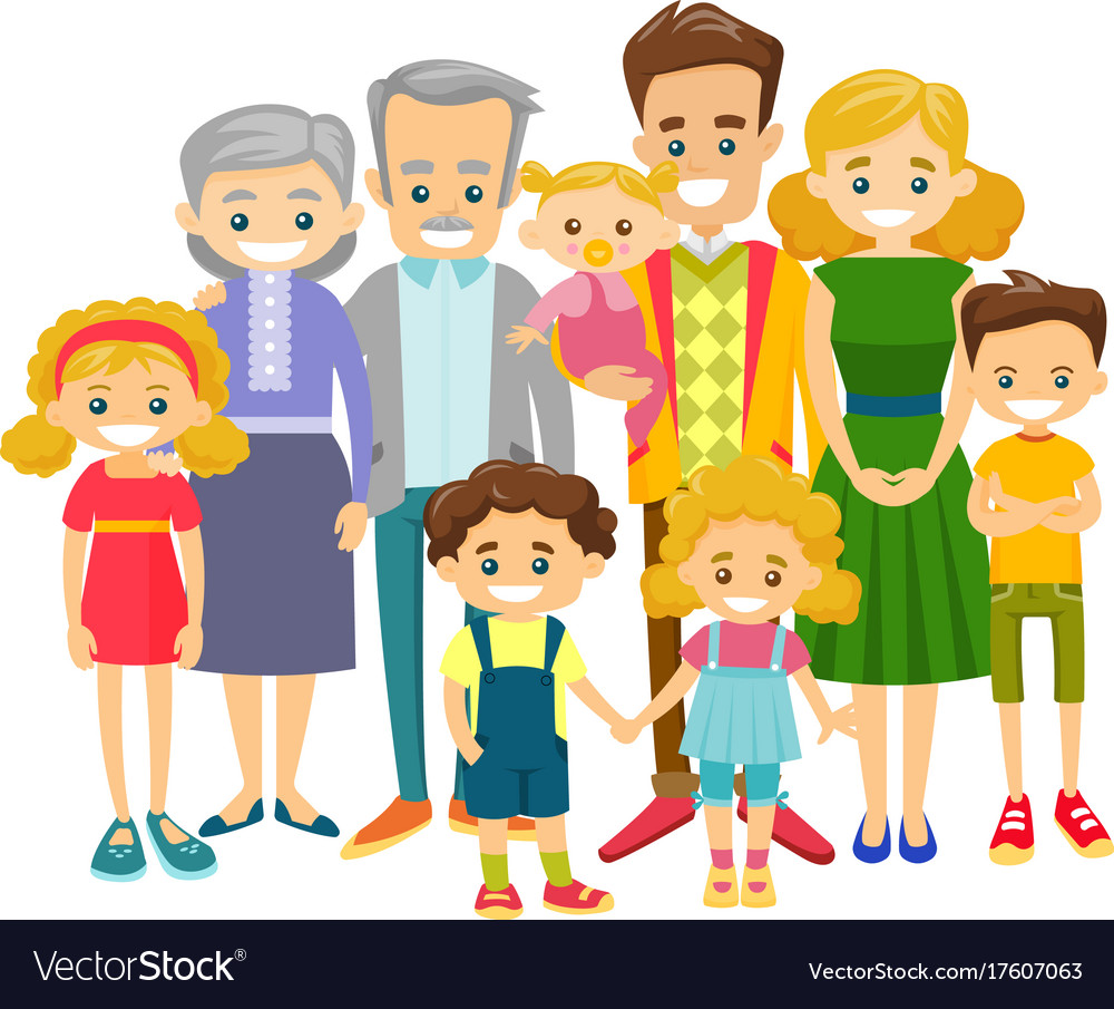 happy extended caucasian smiling family royalty free vector rh vectorstock com family vector art free family vector art