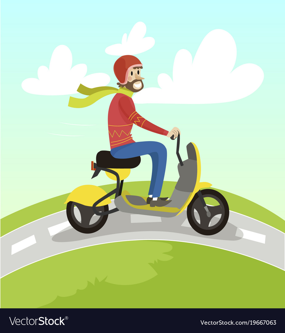 Hipster man riding yellow scooter on summer sunny