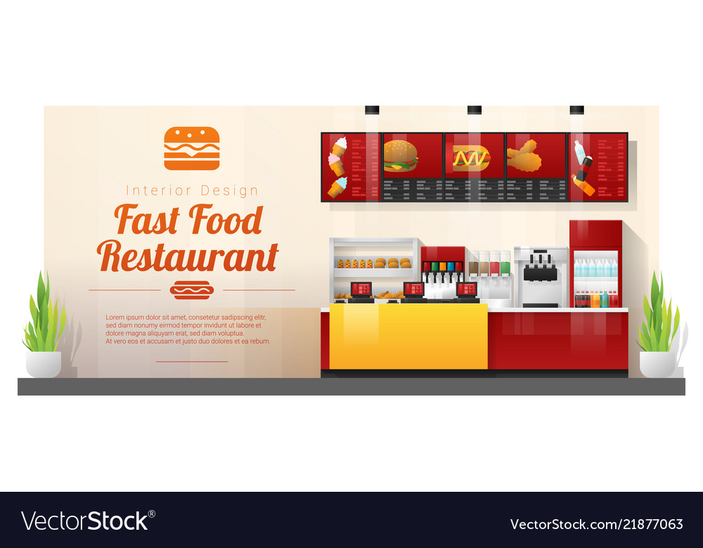 Modern fast food restaurant counter background