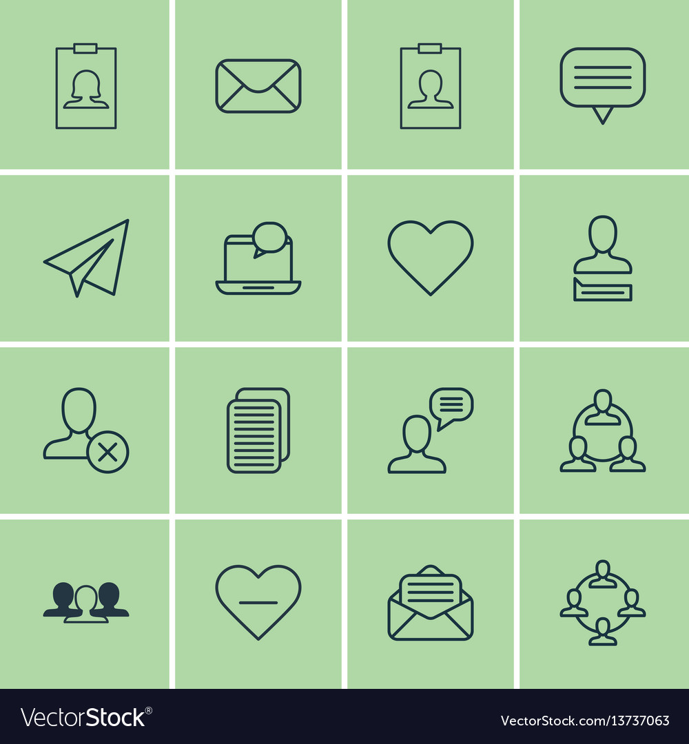 Set of 16 social icons includes chatting person