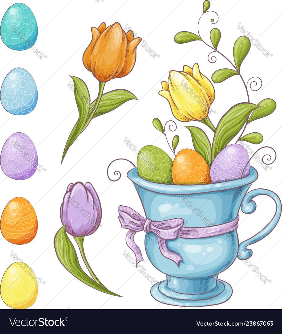 Set of easter design elements eggs tulips