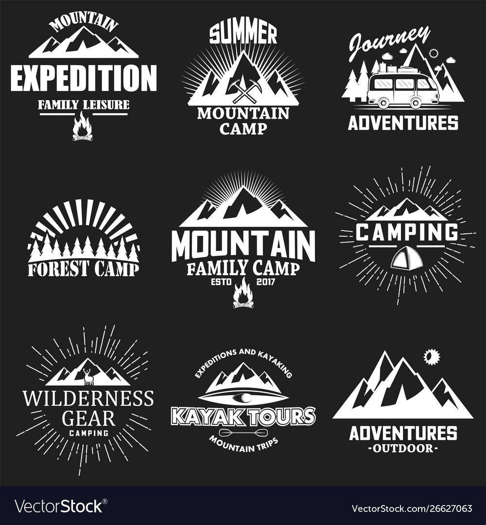 Set vintage outdoor adventure labels