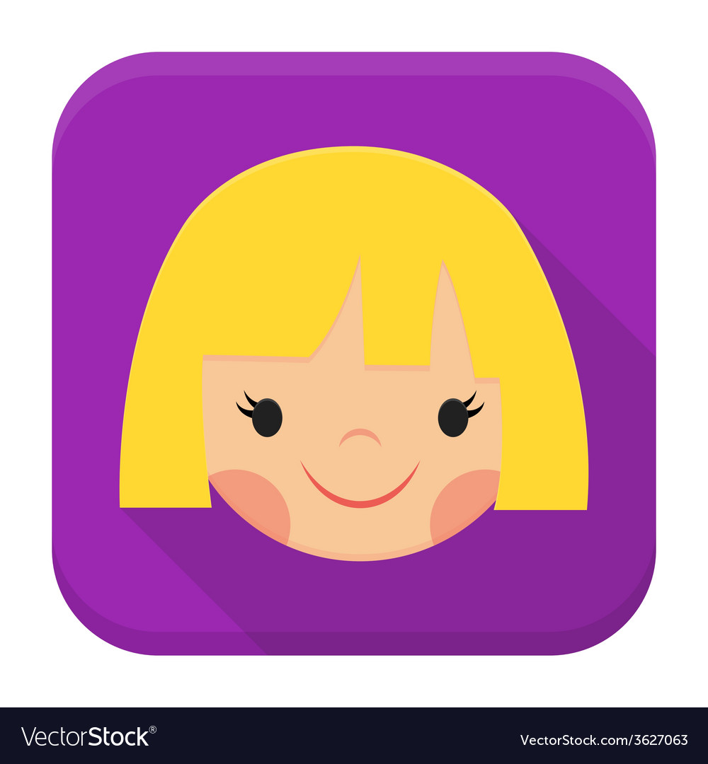 Smiling girl face app icon with long shadow
