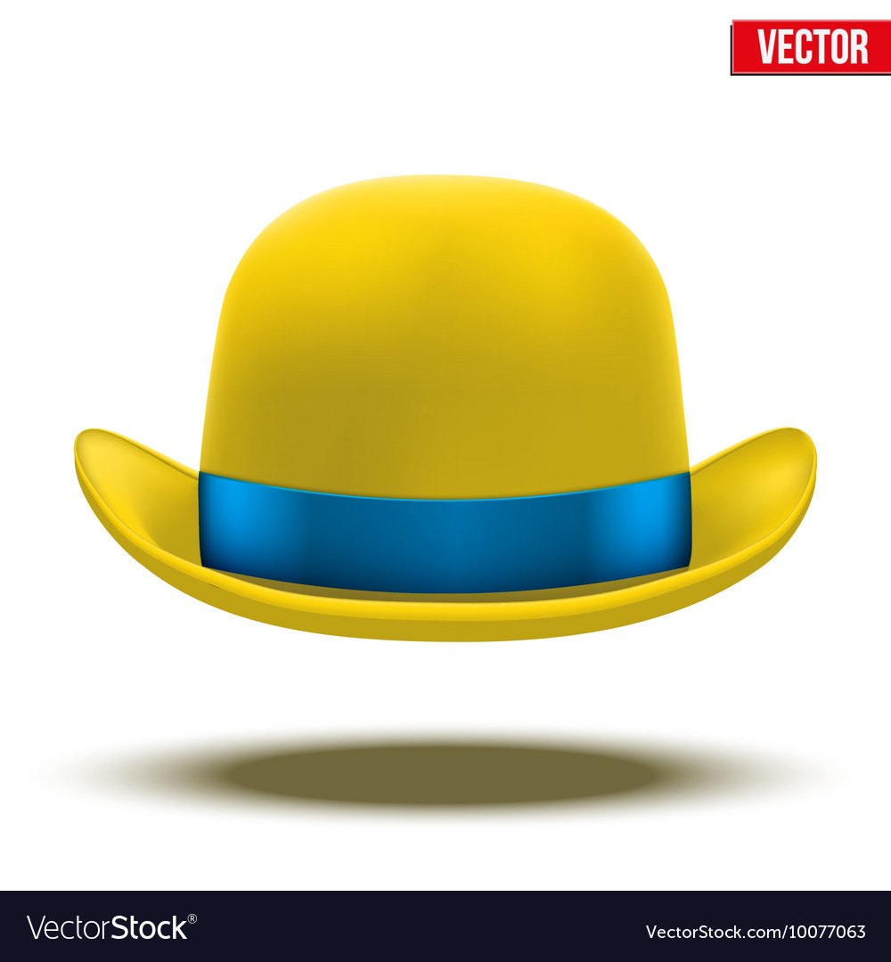 Yellow bowler hat on a white background
