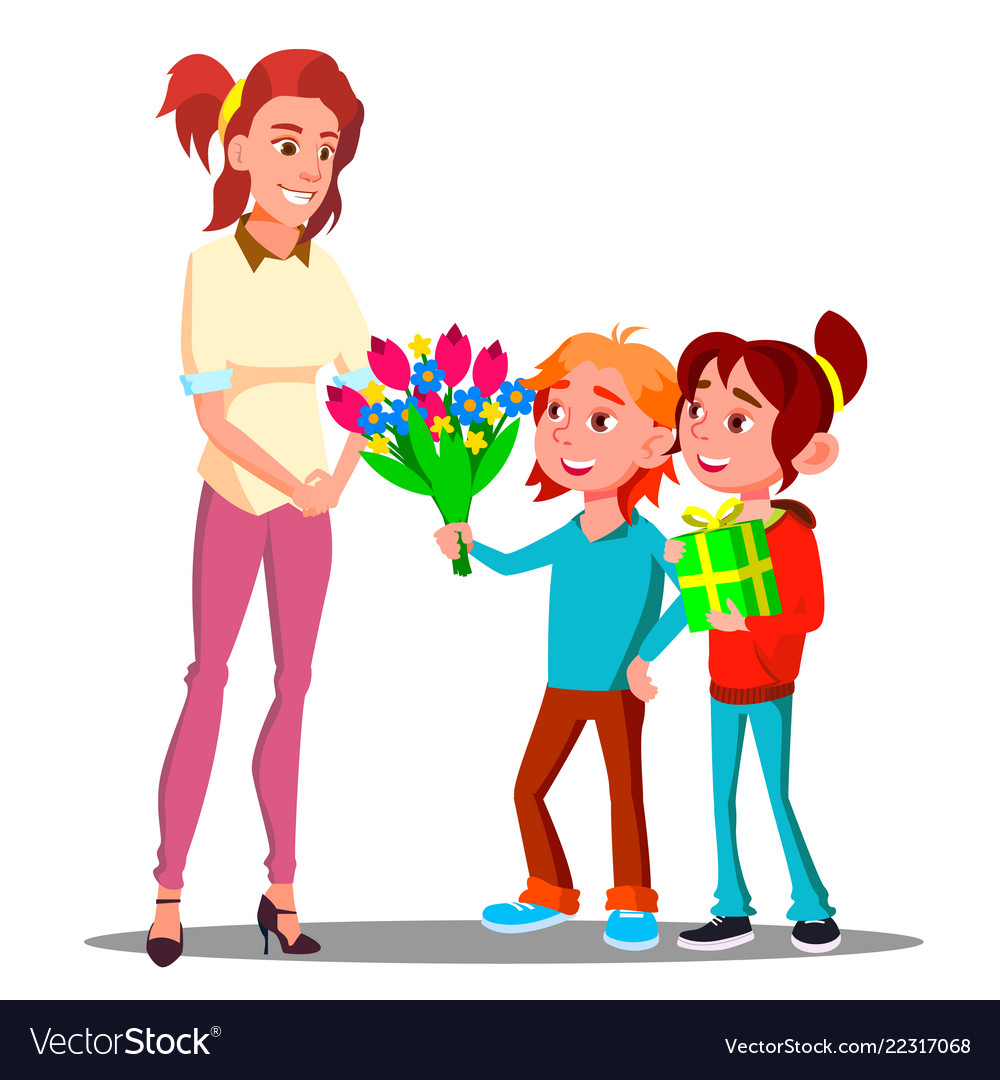 Children give flowers and gifts to mother